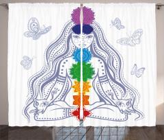 Meditasyon ve Kelebek Fon Perde Çiçekli