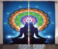 Meditasyon ve Çiçek Fon Perde Mavi Fonlu