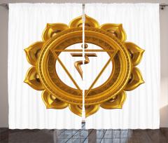 Hint Etkili Altın Lotus Fon Perde Beyaz