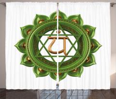 3D Etkili Yeşil Çakra Fon Perde Beyaz Fon