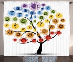 Yoga ve Çakra Ağacı Fon Perde Rengarenk