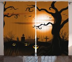 Ay ve Mezarlık Desenli Fon Perde Cadılar Bayramı