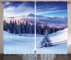 Karlı Dağlar ve Ağaçlar Fon Perde Karlı Dağ Manzaralı Bulutlar