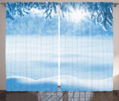 Kar Yağışında Güneş Fon Perde Kar Yağışında Güneş Manzaralı