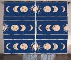 Güneş ve Ay Figürü Fon Perde Bej Şık Güneş ve Ay Figürleri