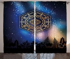 Yıldızlar ve Gökyüzü Fon Perde Siyah Mavi Şık Tasarım