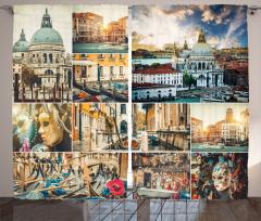 Venedik Desenli Fon Perde Kanal Gondol