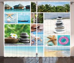 Egzotik Tatil Desenli Fon Perde Tropikal Sahil Palmiyeler
