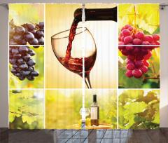 Üzüm ve Şarap Desenli Fon Perde Romantik Bağ Manzaralı