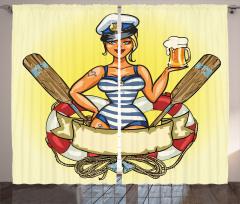 Denizci Kız Temalı Fon Perde Sarı Şık Tasarım