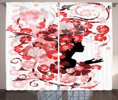 Çiçekli Kız Desenli Fon Perde Pembe Kırmızı Şık