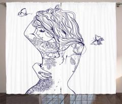 Dövmeli Kız Desenli Fon Perde Siyah Şık Tasarım