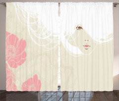 Beyaz Saçlı Kız Desenli Fon Perde Pembe Bej Çiçek