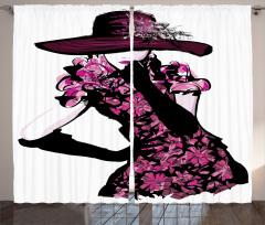 Şapkalı Kız Desenli Fon Perde Pembe Çiçek Trend