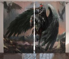Pegasus Desenli Fon Perde Siyah Gri At Kanat Savaş
