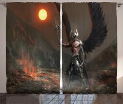 Şeytan Desenli Fon Perde Gri Siyah Şövalye Kanat