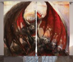 Ejderha Desenli Fon Perde Kırmızı Masal Canavar