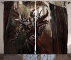 Şeytan Temalı Fon Perde Yaratık Siyah Mitoloji