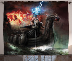 Mitoloji Temalı Fon Perde Thor Çekiç Siyah Efsane
