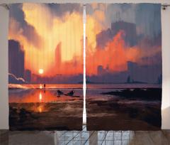 Gün Batımı Temalı Fon Perde Turuncu Gökyüzü Deniz