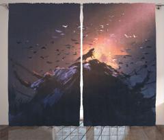 Kurt ve Kuş Desenli Fon Perde Turuncu Siyah Dağ