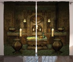 Antik Oda Temalı Fon Perde Kahverengi Mum Kitap