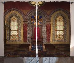 Taht Desenli Fon Perde Antik Kahverengi Pencere