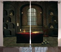Kuru Kafalı Oda Temalı Fon Perde Kahverengi Kitap