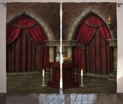 Gotik Temalı Fon Perde Bordo Antik Oda Mum Kapı