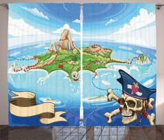 Korsan Adası Temalı Fon Perde Mavi Deniz Kuru Kafa