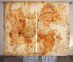 Antik Temalı Fon Perde Hazine Haritası Desenli Bej