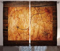 Hazine Haritası Temalı Fon Perde Kahverengi Antik