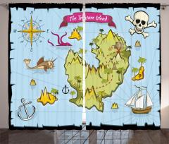Hazine Haritası Temalı Fon Perde Mavi Yeşil Deniz