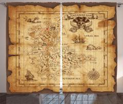 Korsan Haritası Temalı Fon Perde Kahverengi Hazine