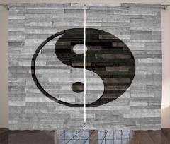 Duvardaki Yin Yang Fon Perde Asya Kültür Gri Siyah