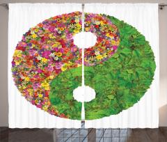 Çiçekli Yin Yang Fon Perde Yaprak Rengarenk Çiçek