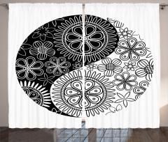 Yin Yang ve Çiçekler Fon Perde Çiçekli Yin Yang Sembolü