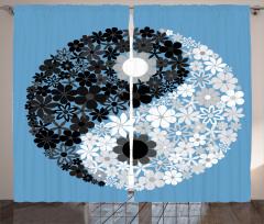 Şık Çiçekli Yin Yang Fon Perde Mavi Beyaz