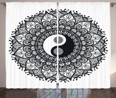 Yin Yangli Mandala Fon Perde Yin Yang Sembollü Mandala