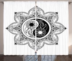 Çiçek ve Mandala Fon Perde Yin Yang Sembollü Mandala