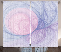 Modern Girdap Desenli Fon Perde Mavi Pembe ve Mor