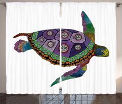 Deniz Kaplumbağası Fon Perde Rengarenk
