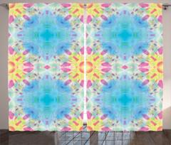 Mavi Mor Geometrik Fon Perde Şık Tasarım