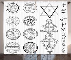 Mistik Pentagram Fon Perde Beyaz