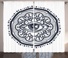 Göz ve Çiçekli Güneş Fon Perde Dekoratif