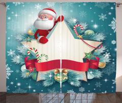 Noel Baba ve Yıldız Fon Perde Dekoratif Nostaljik