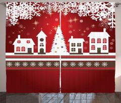 Kar Taneleri ve Evler Fon Perde Bordo Beyaz Noel