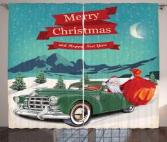 Yeşil Arabalı Noel Baba Fon Perde Nostaljik Şık