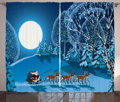Ay Noel Baba ve Geyik Fon Perde Lacivert