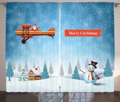 Uçaklı Noel Baba ve Kar Fon Perde Yılbaşı